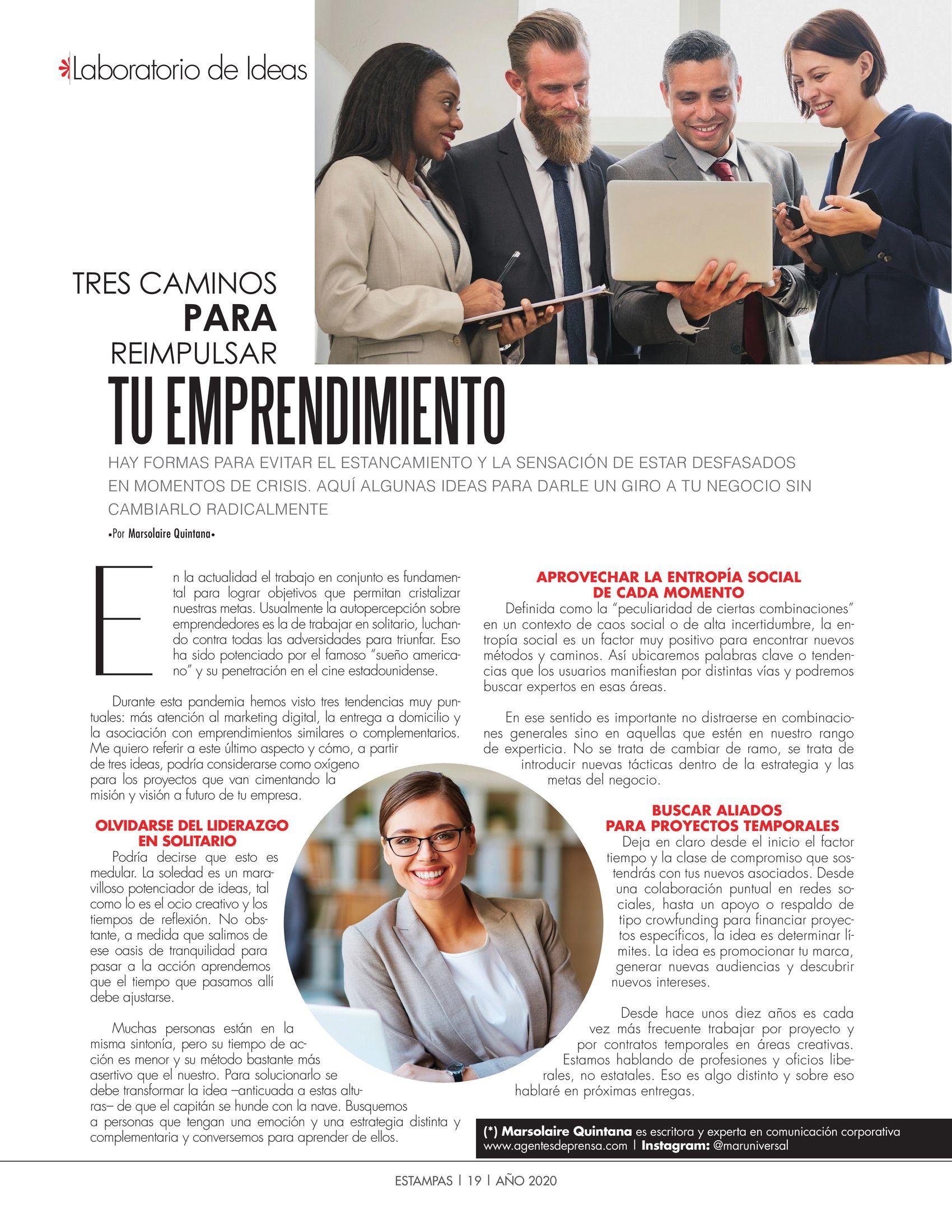 18-REV Emprendedores Marsolaire Quintana Laboratorio de Ideas Tres caminos para reimpulsar tu emprendimiento