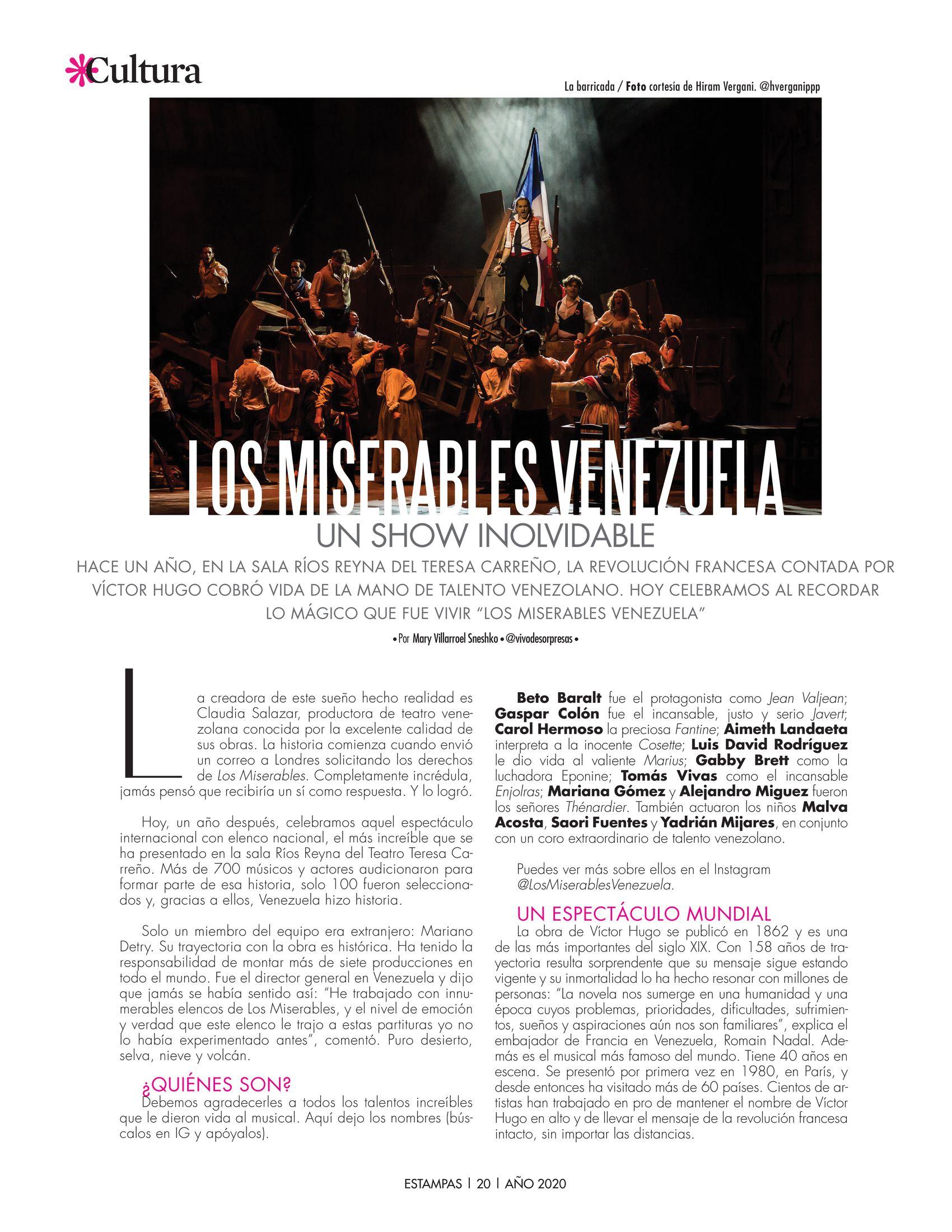 20-REV Cultura: Mary Villarroel Sneshko -  Los Miserables Venezuela un show inolvidable