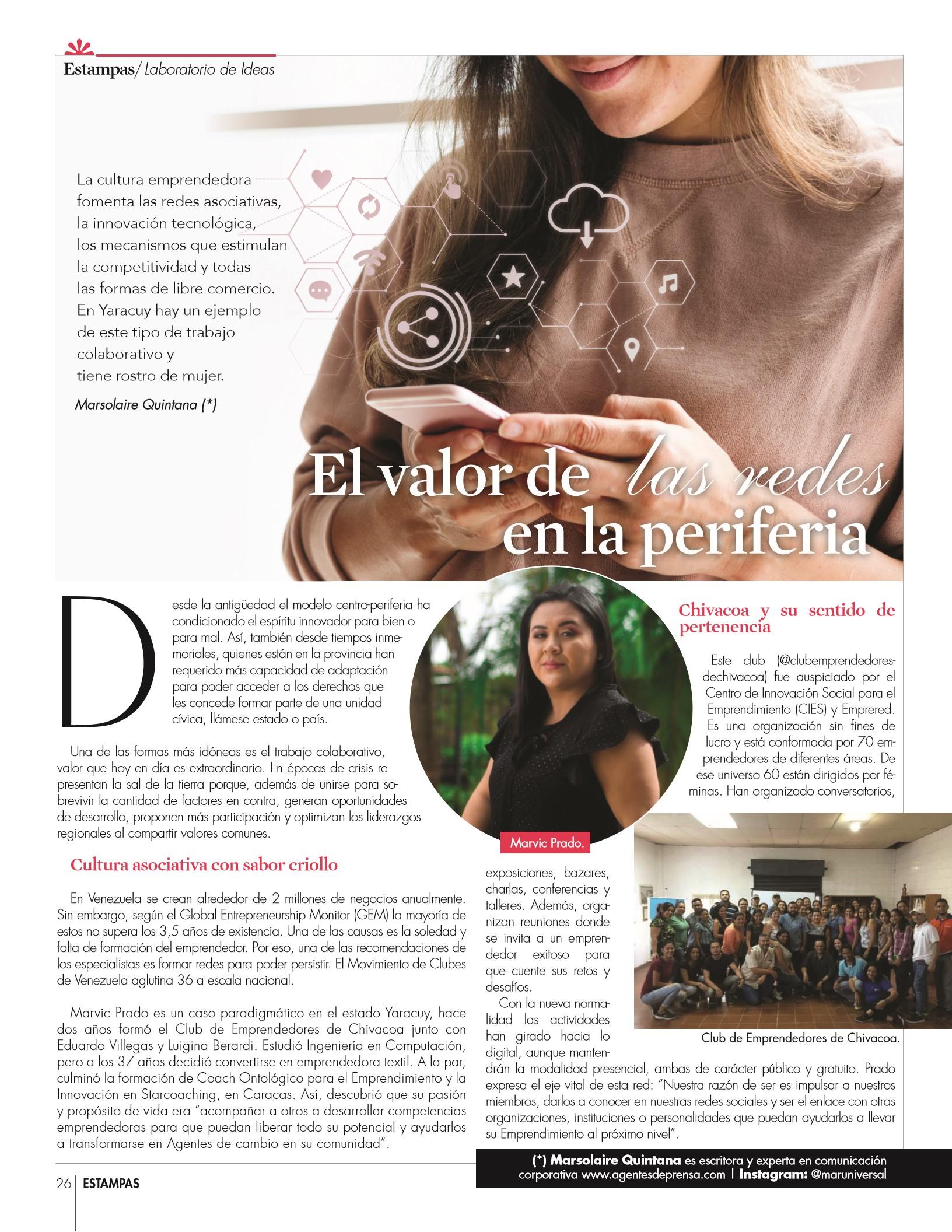 26-REV Emprendedores: Laborarorio de Ideas Marsolaire Quintana: El valor de las redes en la periferia