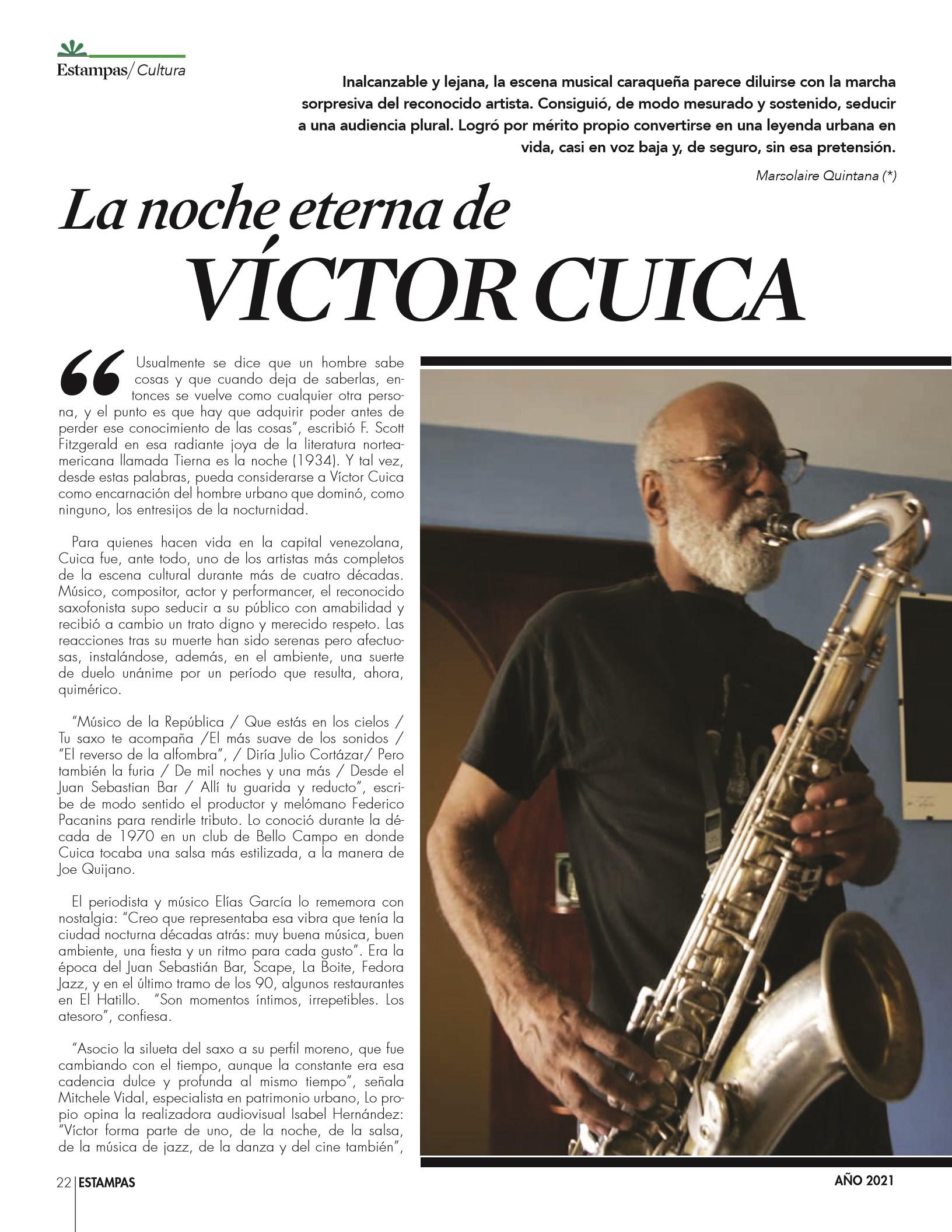 22-REV Cultura: Marsolaire Quintana - La noche eterna de Víctor Cuica
