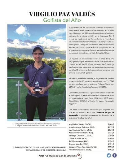 Virgilio Paz - Golfista del Año