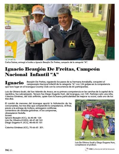 Ignacio Beaujon Campeón Nacional Infantil